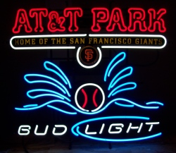 bud light beer att park neon sign