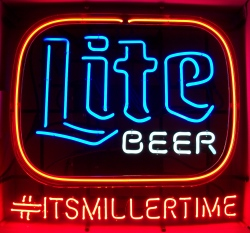 lite beer its miller time neon sign