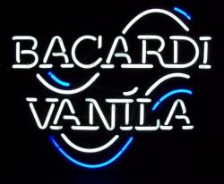 bacardi vanila neon sign