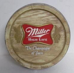 miller high life beer barrel sign