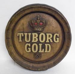 tuborg gold beer barrel sign