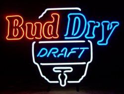 bud dry draft beer neon sign