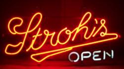 Strohs Beer Open Neon Sign