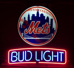 bud light beer mlb mets neon sign