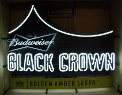 budweiser black crown beer neon sign