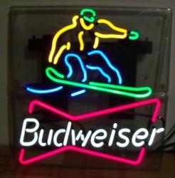 budweiser beer snowboarder neon sign