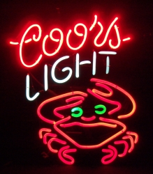 coors light beer crab neon sign