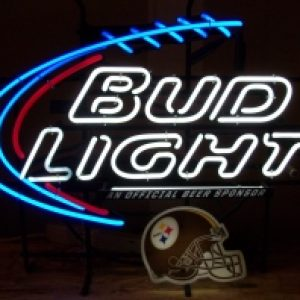 bud light beer nfl steelers neon sign