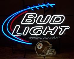 bud light beer nfl steelers neon sign
