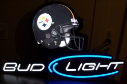 bud light beer nfl steelers led sign