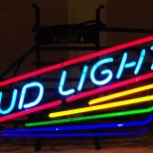 bud light beer rainbow neon sign