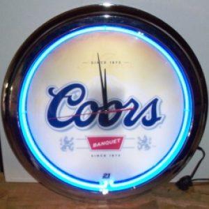 coors beer neon clock