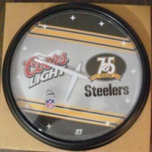 coors light beer nfl steelers clock