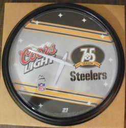 coors light beer nfl steelers clock