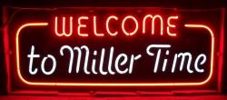 miller time beer neon sign