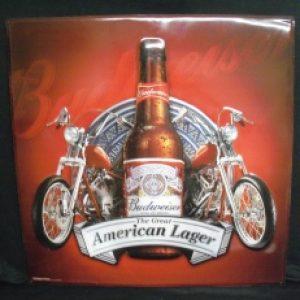 Budweiser Beer Motorcycle Tin Sign