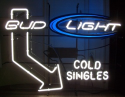 bud light beer cold singles neon sign