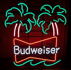 budweiser beer palm neon sign
