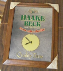 haake beck beer mirror clock