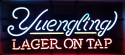 yuengling lager on tap neon sign