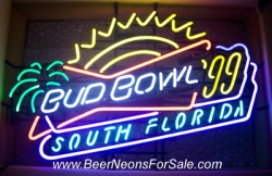Budweiser Bud Bowl Beer Neon sign  MY BEER SIGN COLLECTION – Not for sale but can be bought… budbowl1999southflorida