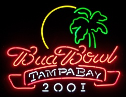 Budweiser Bud Bowl Beer Neon Sign  MY BEER SIGN COLLECTION – Not for sale but can be bought… budbowl2001tampa