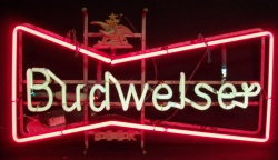 Budweiser Beer Bowtie Neon Sign  MY BEER SIGN COLLECTION – Not for sale but can be bought… budweiserbowtiehanger