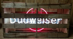 Budweiser Beer Ruby Circle Neon Sign  MY BEER SIGN COLLECTION – Not for sale but can be bought… budweiserrubycircleincrateworking