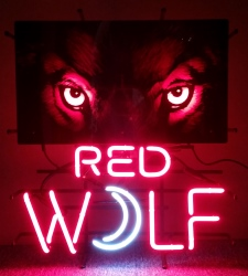 Red Wolf Lager Neon Sign beer sign collection My Beer Sign Collection 2 – Not for sale but can be bought… redwolfeyespanel