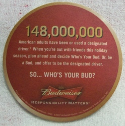Budweiser Beer Coaster budweiser beer coaster Budweiser Beer Coaster budweiserwhosyourbudcoaster2007rear