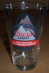 Coors Light Beer Armed Forces Pint Glass