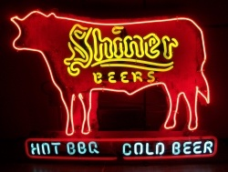 Shiner Beers Hot BBQ Neon Sign beer sign collection My Beer Sign Collection 2 – Not for sale but can be bought… shinerbeershotbbqcoldbeer