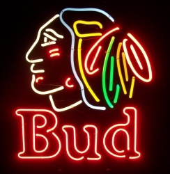 Budweiser Bud Beer Indian Neon Sign  MY BEER SIGN COLLECTION – Not for sale but can be bought… budblackhawk