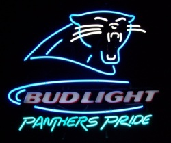 Bud Light Beer Carolina Panthers Neon Sign  MY BEER SIGN COLLECTION – Not for sale but can be bought… budlightpantherspride