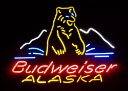 Budweiser Beer Alaska Neon Sign  MY BEER SIGN COLLECTION – Not for sale but can be bought… budweiseralaskabear