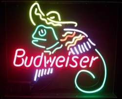 Budweiser Beer Mexican Lizard Neon Sign  MY BEER SIGN COLLECTION – Not for sale but can be bought… budweiserlizardsombrero
