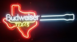 Budweiser Beer Texas Guitar Neon Sign  MY BEER SIGN COLLECTION – Not for sale but can be bought… budweisertexasguitar