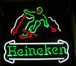 Heineken Beer Skier Neon Sign  MY BEER SIGN COLLECTION – Not for sale but can be bought… heinekenskier