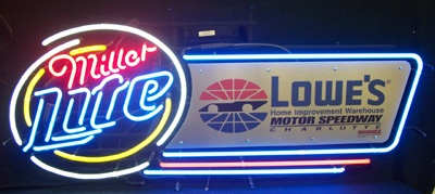 Lite Beer NASCAR Lowes Speedway Neon Sign beer sign collection My Beer Sign Collection 2 – Not for sale but can be bought… liteclublowesspeedway