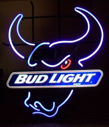 Bud Light Beer Bull Neon Sign  MY BEER SIGN COLLECTION – Not for sale but can be bought… budlightbullhead