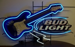 Bud Light Beer Guitar Neon Sign  MY BEER SIGN COLLECTION – Not for sale but can be bought… budlightelectricguitar