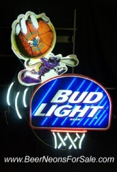 Bud Light Beer Charlotte Hornets Neon Sign  MY BEER SIGN COLLECTION – Not for sale but can be bought… budlighthornets