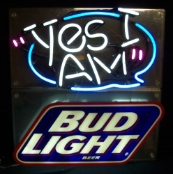 Bud Light Beer Yes I Am Neon Sign  MY BEER SIGN COLLECTION – Not for sale but can be bought… budlightyesiam