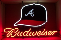 Budweiser Beer MLB Atlanta Braves Neon Sign  MY BEER SIGN COLLECTION – Not for sale but can be bought… budweiseratlantabravescap