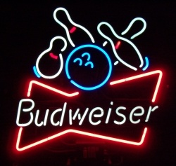 Budweiser Beer Bowling Neon Sign  MY BEER SIGN COLLECTION – Not for sale but can be bought… budweiserbowling