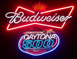 Budweiser Beer Daytona 500 Neon Sign  MY BEER SIGN COLLECTION – Not for sale but can be bought… budweiserdaytona500 e1591315524358