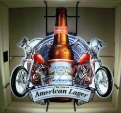 Budweiser Beer Motorcycle Neon Sign  MY BEER SIGN COLLECTION – Not for sale but can be bought… budweisermotorcyclepanel