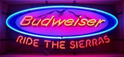 Budweiser Beer Ride The Sierras Neon Sign  MY BEER SIGN COLLECTION – Not for sale but can be bought… budweiserridethesierras e1591707505167
