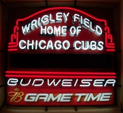 Budweiser Beer Wrigley Field Neon Sign  MY BEER SIGN COLLECTION – Not for sale but can be bought… budweisersmallwrigleyfield