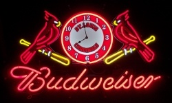 Budweiser Beer St. Louis Cardinals Neon Sign Clock  MY BEER SIGN COLLECTION – Not for sale but can be bought… budweiserstlouiscardinalsclock